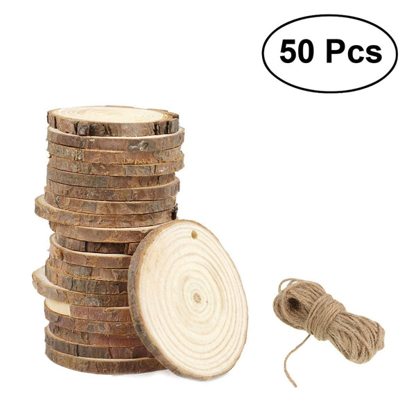 50pcs 5-6CM Wood Log Slices Discs for DIY Crafts Wedding Centerpieces with 10M Jute Twine