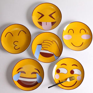 50pcs Creative Round Emoji Ceramic Plate Western Restaurant Cute Outdoor Picnic Home Daily Food Dish Kitchen Tableware for Kid - thefashionique