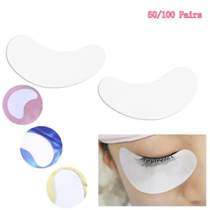 50pcs Under Eye Pads Eye Gel Pads Eyelash Extension Eye Patches for False Eyelash Extension Grafting(Golden Package) - thefashionique