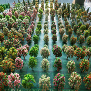 50pcs/lot  architecture mini plastic model 2-15cm color tree for ho train layout  railway layout model building - thefashionique