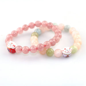 50pcs/lot wholesale Ceramic Fortune Cat Strawberry Crystal Boys Girls Souvenir Gift Couple Lovers 8mm Beads Men Women's Jewelry - thefashionique