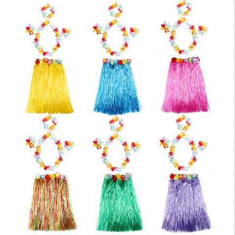 5PCS/set Plastic Fibers Women Grass Skirts Hula Skirt Hawaiian costumes 30CM/40/CM60CM Ladies Dress Up Festive & Party Supplies