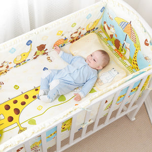 5Pcs Cotton Baby Cot Bedding Set Newborn Cartoon Baby Crib Bedding Set Detachable Cot Bed Linen 4 Bed Bumpers+1 Sheet 7 Sizes - thefashionique