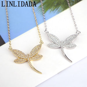 5Pcs New style CZ Dragonfly Necklace Fashion Crystal Zirconia Insect Shaped White CZ Crystal Necklace Women Gift