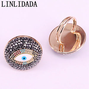 5Pcs Rhinestone Cz Paved Eye Gold Ring Fashion Jewelry Adjustable Rings for Women Wedding Parrty Jewelry