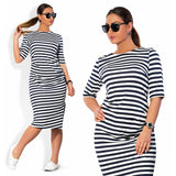 5XL 6XL Large Size 2018 Autumn Summer Dress Big Size Black White Striped Dress Straight Dresses Plus Size Women Clothing Vestido - thefashionique