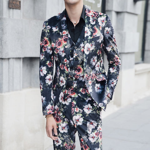 5XL Flowers Suits Mens Fancy Printed Mens Suits with Pants Coat Latest Designs Costume Homme Ternos Masculino Slim Fit Dj Dress