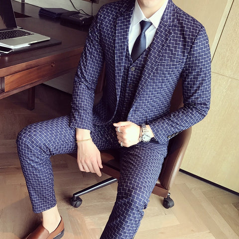 5XL Mens Suits Slim Fit Blue Plaid Suits Mens Business Social Ternos Wedding Smoking Mariage Homme Stylish Prom Jackets Club