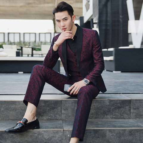 5XL Suits Mens Burgundy Wedding Suits For Mens Social Terno Masculino Slim Fit Costume Mariage Homme Business Wedding Dress 2018