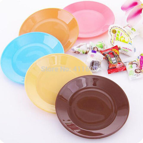 600Pcs Dinner Plates Colorful Tableware Fruit Saucer Food-grade Plastic Plates Snack Dish Party Kitchen Supplies QW8196