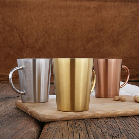 60pcs/lot 350 ML Stainless Steel Copper Plated Coffee Cup Double Layers 304 High Temperature Resistance Milk Tea Mug - thefashionique