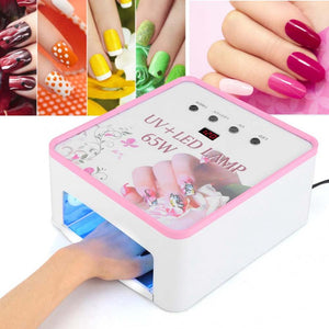 65W Eye-protection UV LED Nail Lamp Quick Dry Manicure Lamp LCD Display c - thefashionique