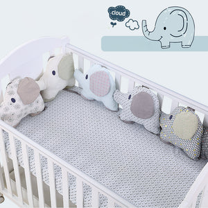 6PCS/Set Baby Bed Bumper Cushion Cotton Elephant Infant Crib Bumper Soft Baby Bedding Around protector - thefashionique