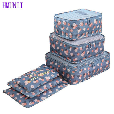 6PCS/Set High Quality Oxford Cloth Travel Mesh Bag  Luggage Organizer Packing Cube Organiser Travel Bags - thefashionique