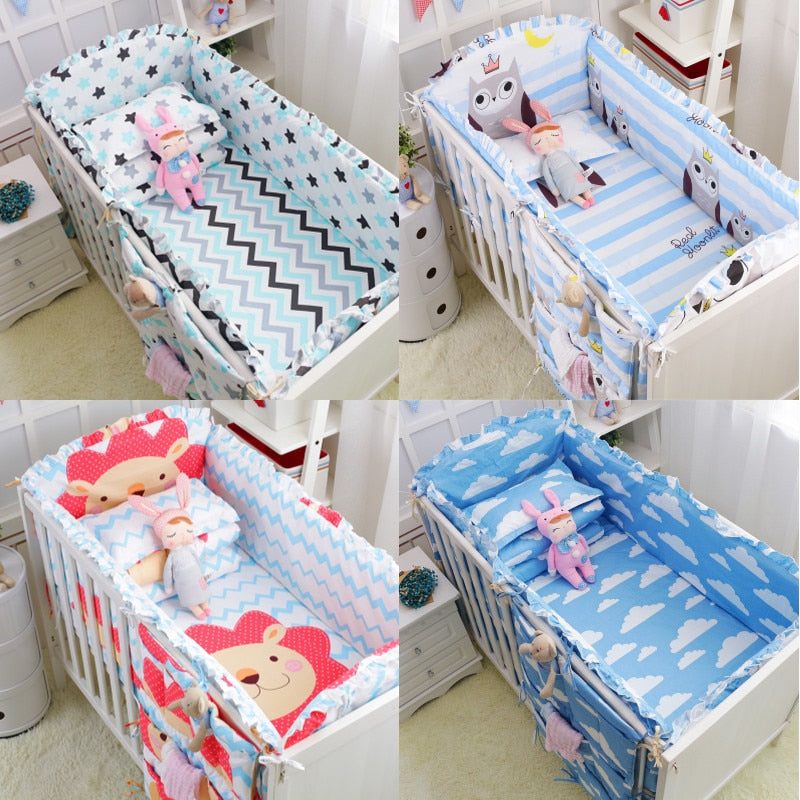 6Pcs 100%Cotton Baby Crib Bumpers Bedding Cartoon Baby Bedding Sets Bed Safety Baby Fence Bed Sheets Thickening Babies Bumper - thefashionique
