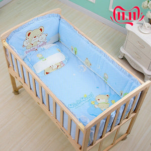6Pcs 120*65cm Cotton Baby Crib Bedding Sets With Bumper Mattress Cushion Pillow Baby Items Baby Bassinet Mattress Baby Crib Set - thefashionique