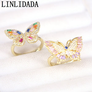 6Pcs wholesale cz butterfly rings,gold color fashion cz jewelry ring,cz adjustable ring