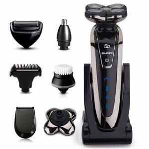 6in1 wet/dry shaving machine 5D Shaver Rechargeable Electric Shaver portable Electric Razor For Men beard travel grooming kit - thefashionique