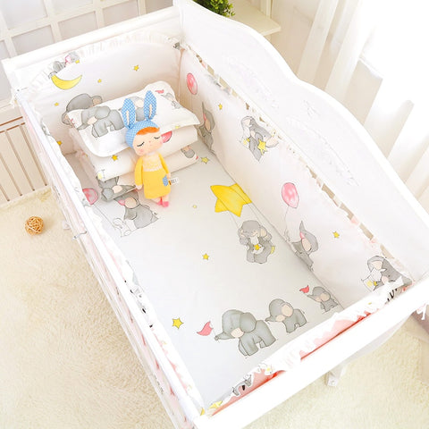 6pcs Cute Cartoon Print Girls Boys Baby Bedding Set 100%Cotton Bedclothes In Crib Cot Crash proof Bumpers Bed Sheet Pillowcase - thefashionique