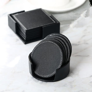 6pcs Set PU Leather Coaster Cup Mat Black Round Square Pad With Storage Box Heat Resistant Waterproof Coaster Home Decoration - thefashionique