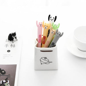 6pcs/lot Kawaii gel ink pens Cartoon animal hands up stationery pen Office stylo School canetas kids supplies  (tt-2964)