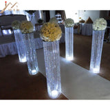 6pcs/lot New arrival 120cm tall 22cm diameter acrylic crystal wedding road lead wedding centerpiece event party decoration