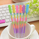 6pcs/lot Rainbow colors gel pen Cute series fluorescence roller pens School stationery book marker Office supplies (tt-3015)