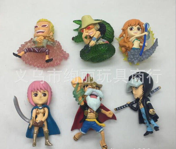6pcs/set New type of japanese one piece model 5-6.5cm cartoon action figures hobby collections birthday gift cake decoration
