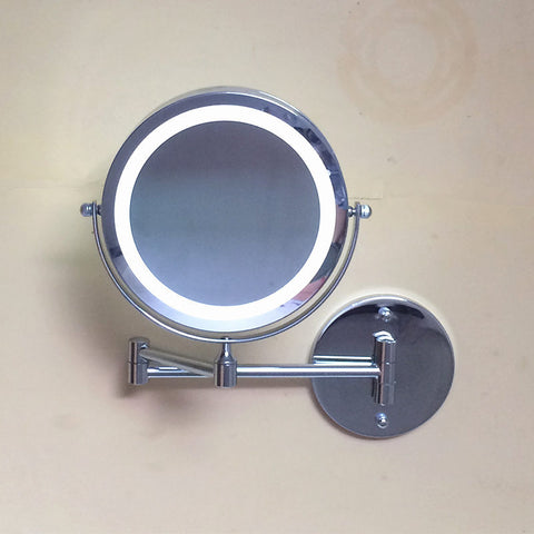 7 inch Bathroom wall hanging beauty LED cosmetic mirror folding  mirror  double side bathroom 3X magnifying Cosmetology mirror