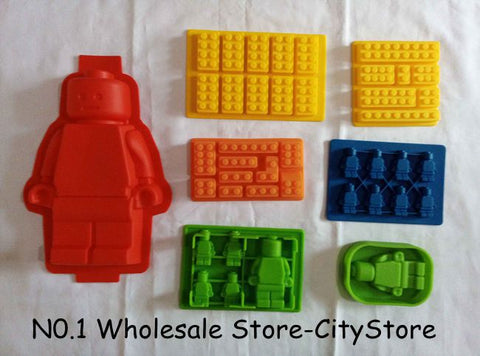 700pcs/lot Silicone Brick & Minifigure Man Robot shape ilicone Fandont Chocolate Mold Ice Cube Ice Trays  Baking Pan Fondant