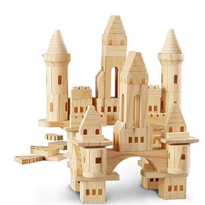 75pcs Children Big Wooden Castle Building Blocks/ Kids Log Building and Construction House Blocks Girls Boys Christmas Gift