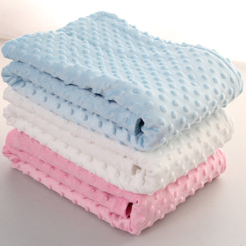 76x102cm Point Fleece Baby Sheet Blanket Newborn Baby Swaddle Wrap Bebe Envelope Wrap Newborn Baby Bedding Blanket - thefashionique