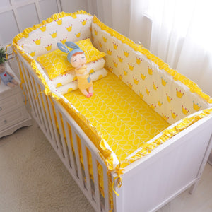 7Pcs Hot ! Baby Bedding Set 100% Cotton Crib Bedding Set Baby Cot Protector Safe Bumpers Bed Sheet Quilt Cover Pillowcase - thefashionique