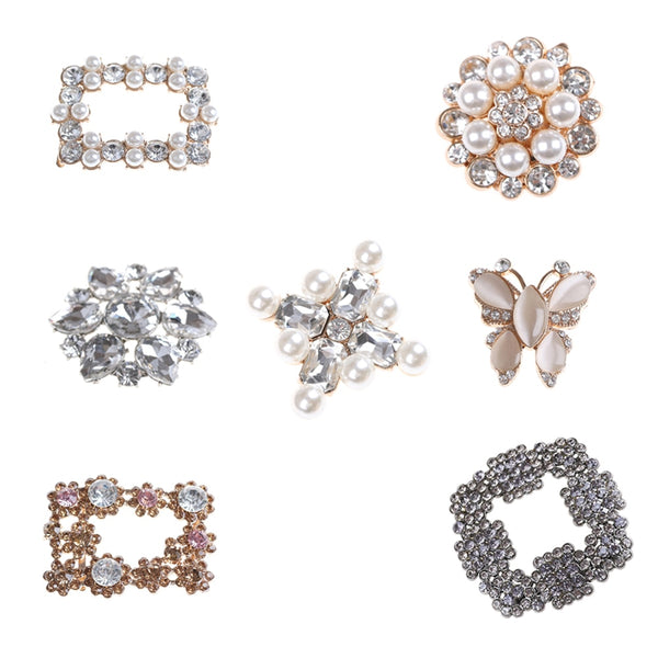 7Styles Crystal Shoe Clip Decoration Faux Pearl Shoe Clips Decorative Accessories Bridal Shoes Rhinestone Clip Buckle - thefashionique