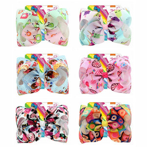 "8"" Doughnut JoJo Bows With Clip Fruit Lollipop Ice Cream Print Grosgrain Ribbon Kids Hair Clips For Girls Hair Accessoires - thefashionique"