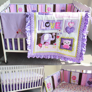 8 Pcs/set Baby Bedding Set Purple Elephant Crib Cot Quilt Bumper Sheet Dust Ruffle Cotton Polyester Bumper Pads Sheets