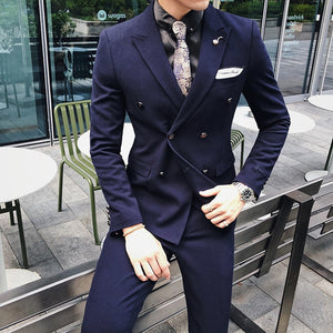 8 Solid Color Double Breasted Men Texedo Suit Smoking Uomo Groom Men Suit Slim White Green Wine Red Wedding Suit Traje Novio - thefashionique