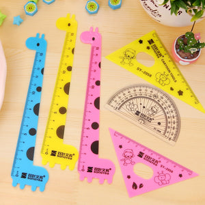 "80pcs Cute Giraffe Set of Drafting Rules Straight 6"" Rulers for School Study Supplies Kawaii Accessories Scale Kids Stationery"