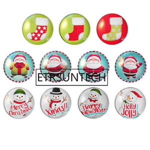 80sets 5pcs/set Christmas Creative Gifts Glass Fridge Magnets Santa Claus Snowman Fridge Magnet Random Style - thefashionique