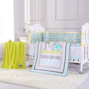 8PCS Baby Nursery Crib Bedding Sets Nursery Crib Skirt Set Baby Bedding (4bumper+duvet+fitted sheet+bed skirt+blanket)