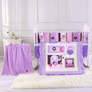 8PCS Purple Nursery Crib Bedding Sets for Girls Infant Bedding Accessories Room ,(4bumper+duvet+fitted sheet+bed skirt+blanket)