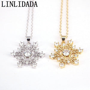 8Pcs New Design 26mm Crystal Zirconia Snowflake Shaped Gold / Silver Color Female CZ Necklace Women Gift