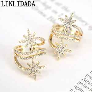 8Pcs Sparkly cz Gold Rings for women New Jewelry Cubic Zirconia Finger Engagement Party Adjusable Rings