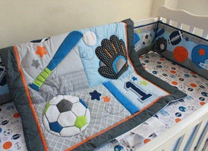 8pcs Baseball Blue Woven Cotton Crib Bedding Set Unisex Babies Kid Nursery Gifts