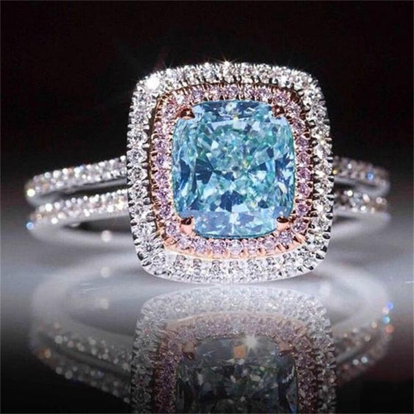 925 sterling silver zircona pink blue color engagement ring for women female ladies wedding finger brand jewelry r4994 - thefashionique