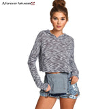 A Forever 2018 Harajuku Sweatshirt For Women Crop Tops Casual Knitted Hoodie Sweatshirts Slim Short Blusa Feminina Hoodie AFF383 - thefashionique