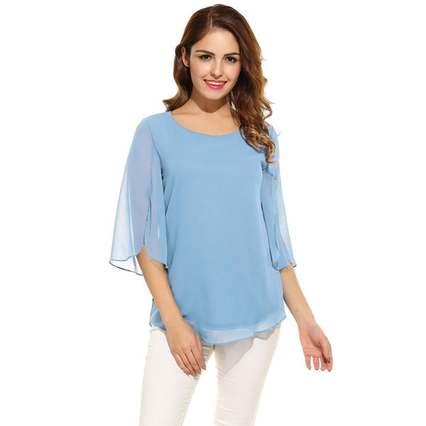 ACEVOG Women's Blouse Blusas Summer Autumn Casual Flare Sleeve O Neck Solid Loose Pullover Feminino Chiffon Blouse Shirt Tops - thefashionique