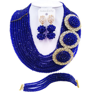 ACZUV Royal Blue African Beads Necklace Nigerian Wedding Jewelry Sets 10C-3PH009