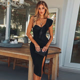 ADYCE 2019 New Summer Women Bandage Dress Celebrity Evening Party Dresses Sexy One Shoulder Ruffles Bodycon Club Dress Vestidos - thefashionique