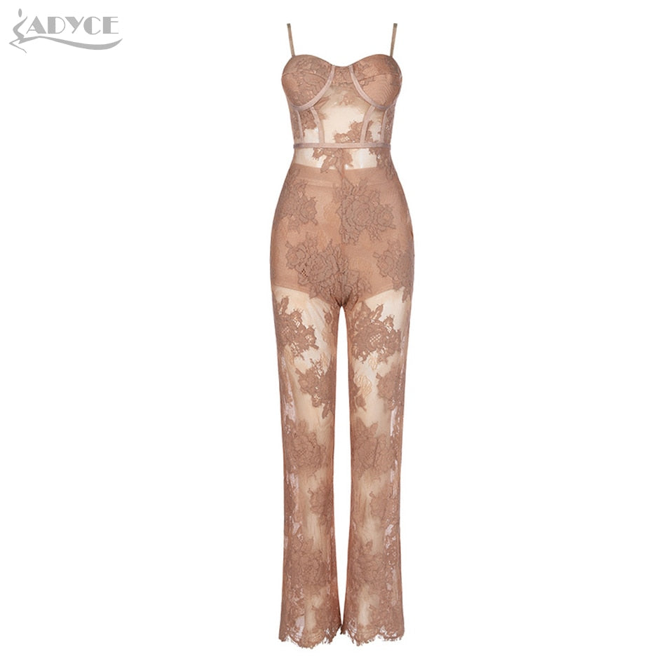 ADYCE 2019 New Summer Women Runway Bandage Jumpsuit Rompers Elegant Lace Spaghetti Strap Jumpsuit Sexy Bodysuit Vestido Clubwear - thefashionique